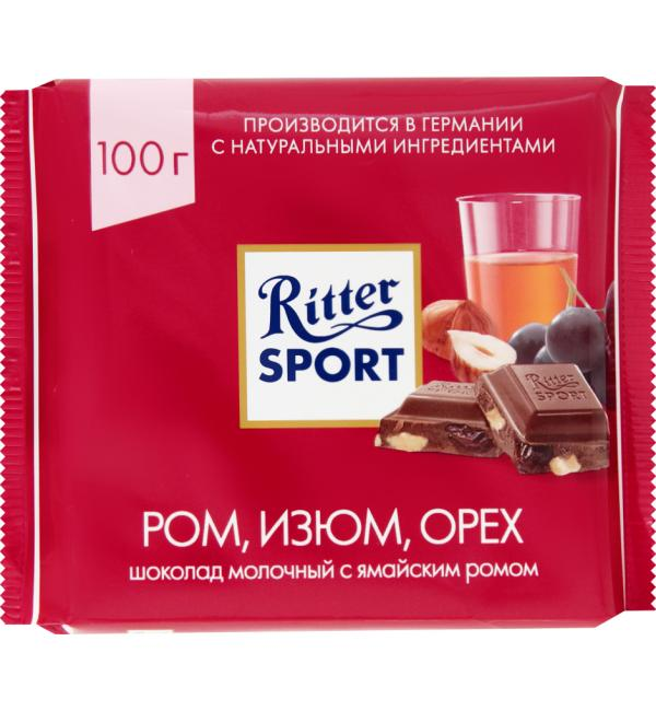 Шоколад Ritter Sport Ром, изюм, Орех 100г