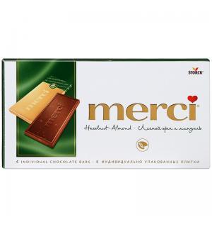 Шоколад MERCI лесной орех и миндаль 100г