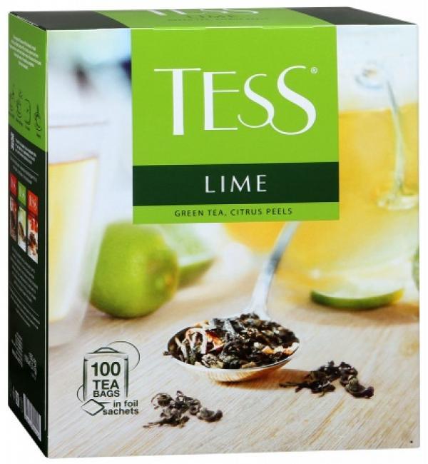 Чай зеленый Tess Lime 150г (100 пак.)